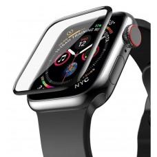 """Защитная пленка """"Полное покрытие"""" для Apple Watch 4/5/6/SE (40 мм) Черная ( силикон )"""