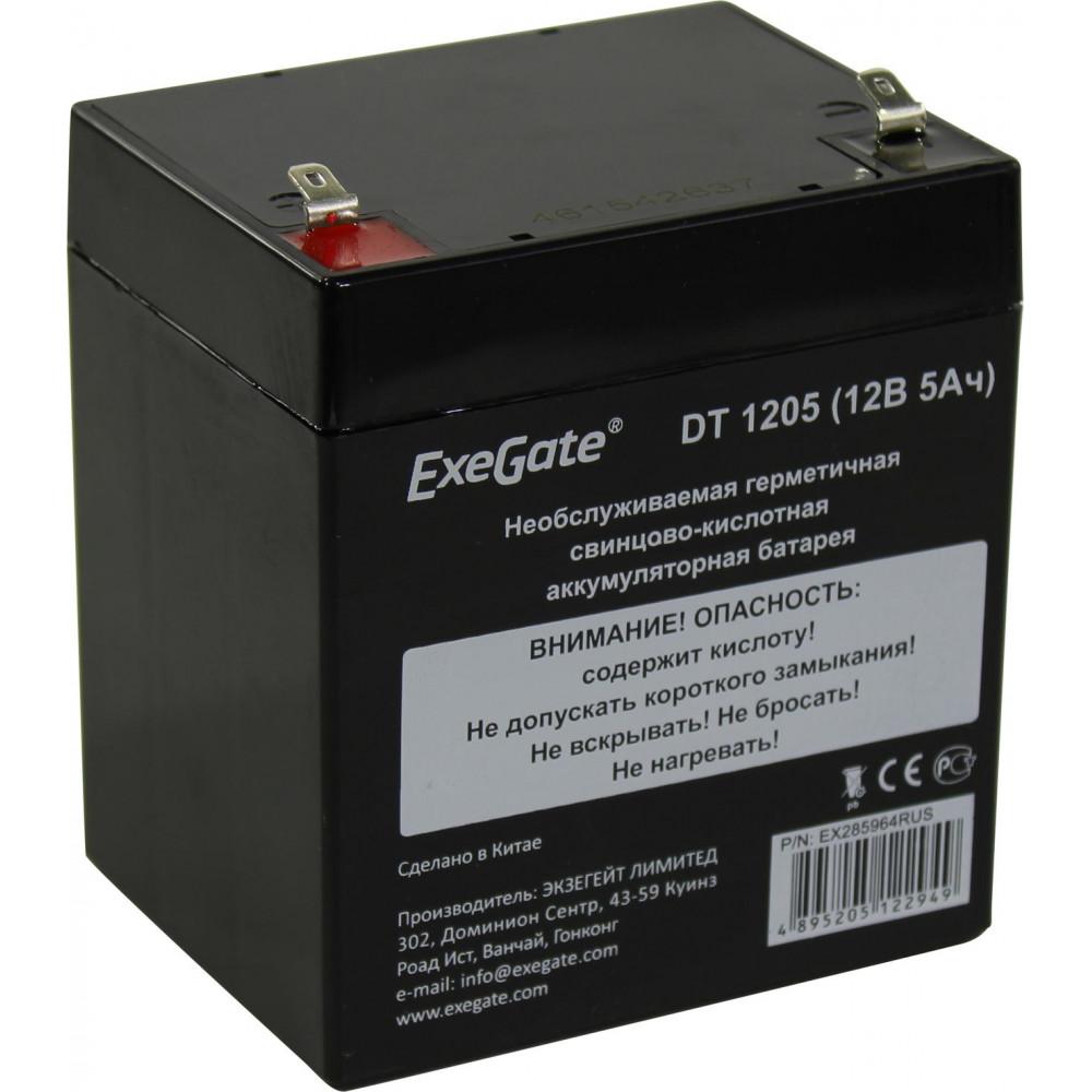 Аккумуляторная батарея ExeGate DT 1205 (12V 5Ah, клеммы F1) <EX285964RUS>