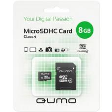 Флеш карта Micro SecureDigital 8Gb QUMO QM8GMICSDHC4 {MicroSDHC Class 4, SD adapter}