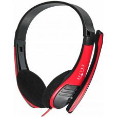 Наушники с микрофоном Oklick HS-M150 черный/красный 2.2м накладные (NO-003N)