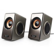 [Колонки] Акустич. система 2.0 Gembird SPK-400, пассивные излучатели, серебристый, 6 Вт, регулятор громкости,