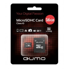 Карта памяти QUMO MicroSDHC 16GB Сlass 10 с адаптером SD, черно-красная картонная упаковка